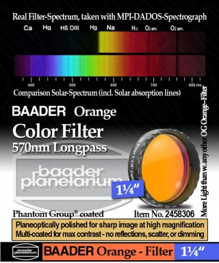 "Baader Filtro Arancio visuale da 1¼"" (31.8mm) -- BP2458306"