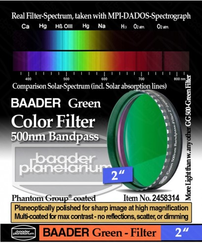 "Baader Filtro Verde visuale da 2"" (50.8mm) -- BP2458314"