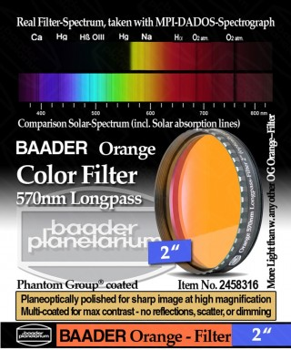 "Baader Filtro Arancio visuale da 2"" (50.8mm) -- BP2458316"
