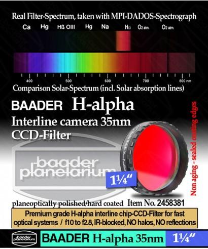 "Baader Filtro H-alpha da 1¼"" (31.8mm) di diametro, per CCD -- BP2458381"