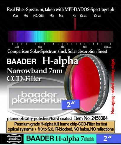 """Baader Filtro H-alpha a banda stretta da 7nm FWHM, diametro 2"""" (50,8mm) -- BP2458384"""