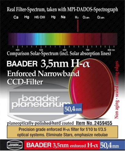 BP2459455 -- Baader Filtro H-alpha a banda stretta da 3.5nm, diametro 50.4mm, senza cella