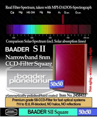Baader Filtro SII a banda stretta da 8nm FWHM, quadrato da 50x50mm, per CCD -- BP2458433