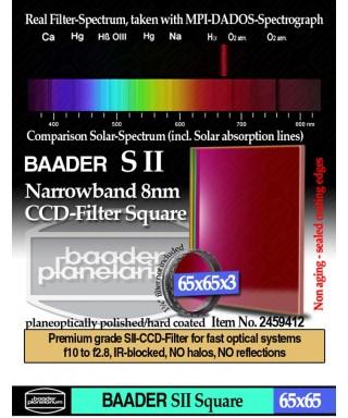 Baader Filtro SII a banda stretta da 8nm FWHM, quadrato da 65x65mm, per CCD-- BP2459412