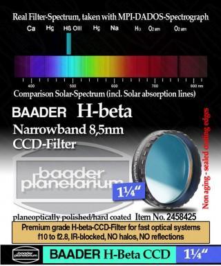 "Baader Filtro H-beta a banda stretta da 8.5nm FWHM, diametro 1¼"" (31.8mm), per CCD-- BP2458425"