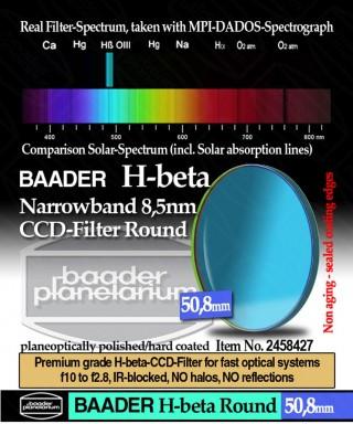 Baader Filtro H-beta a banda stretta da 8.5nm FWHM, diametro 50.4mm per CCD -- BP2458427