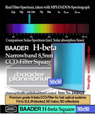 Baader Filtro H-beta a banda stretta da 8.5nm FWHM, quadrato da 50x50mm, per CCD -- BP2458428